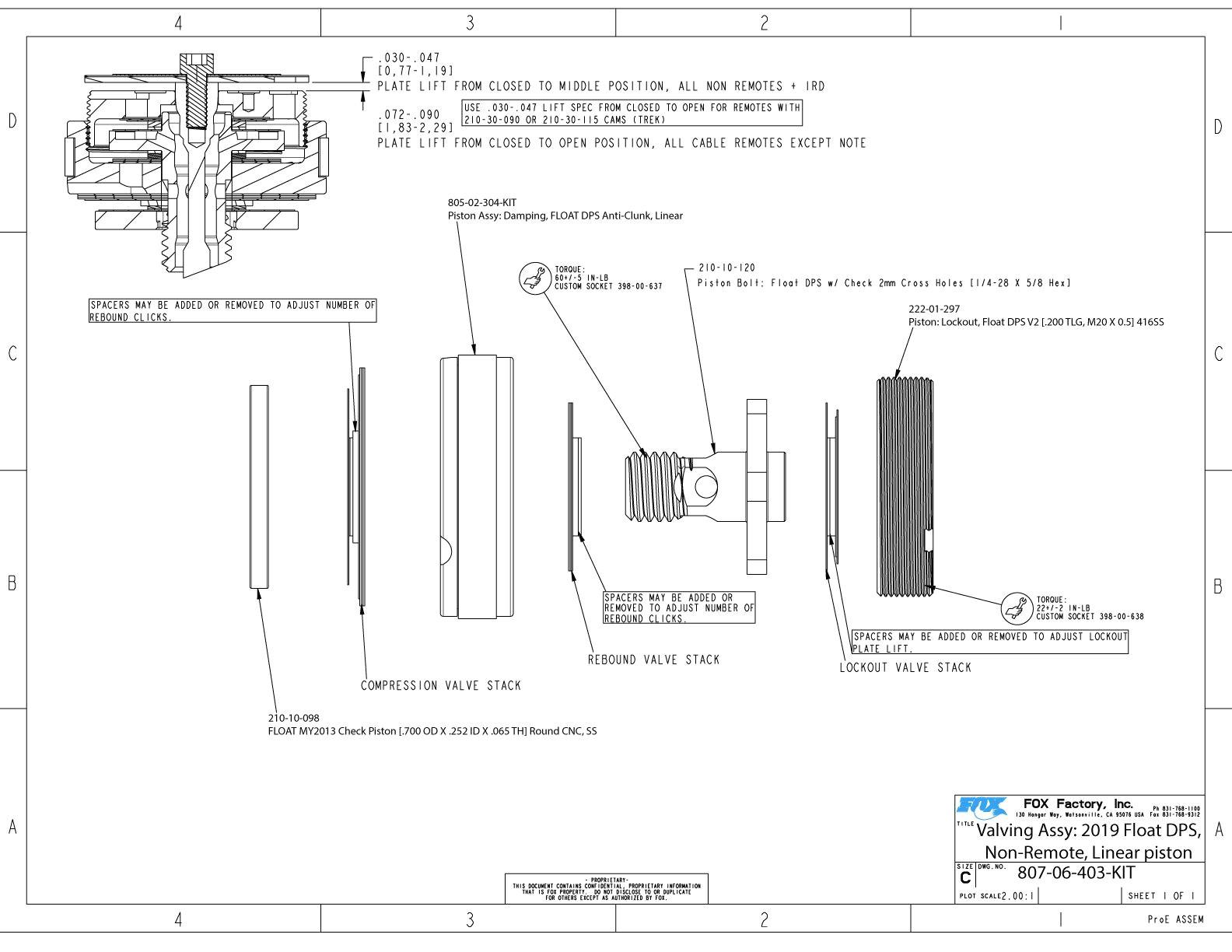 807 06 403 kit valving assy 2019 float dps non remote linear piston