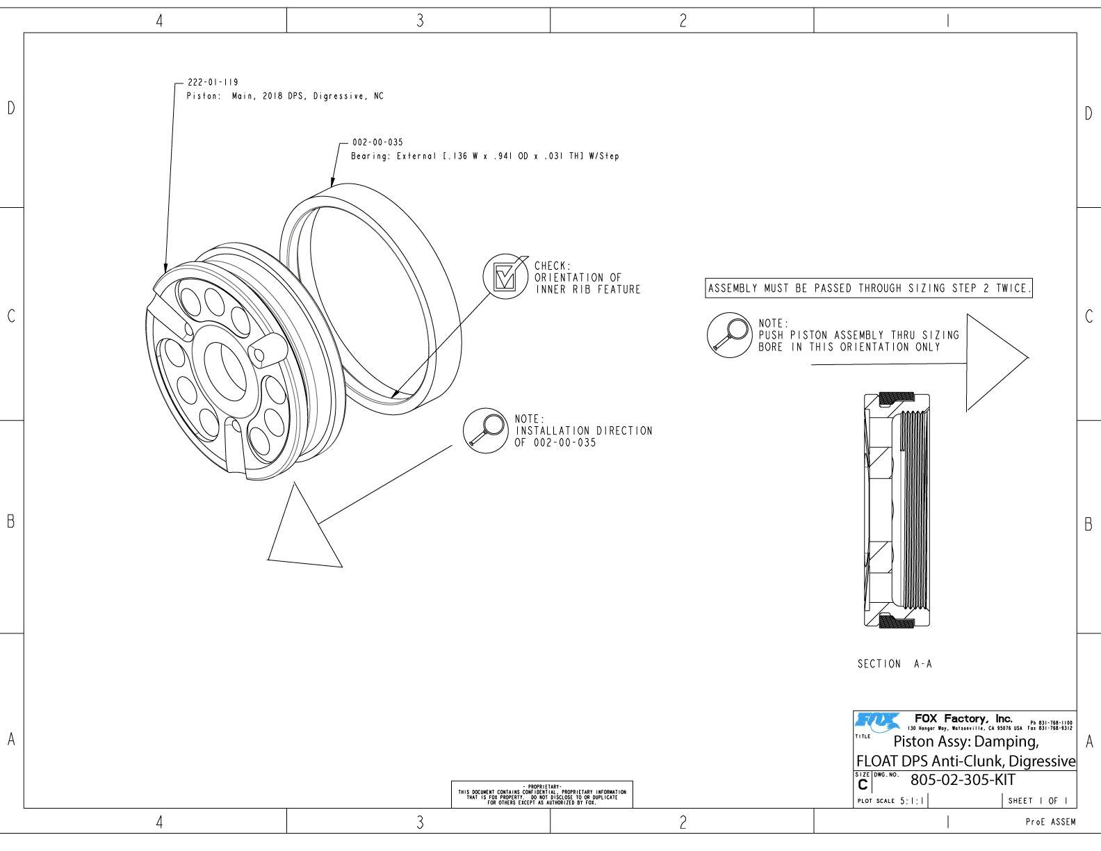 805 02 305 kit piston assy damping float dps anti clunk digressive