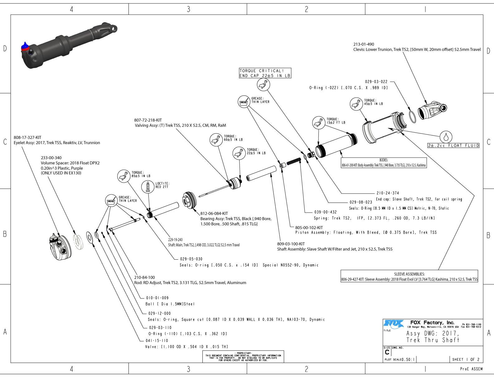 assembly drawing trek thru shaft