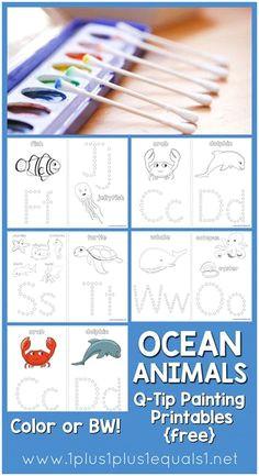 ocean animals q tip painting printables