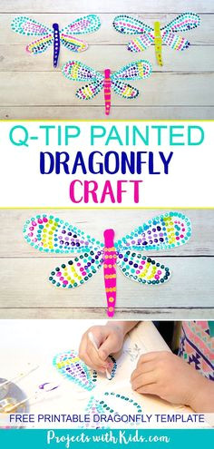 colorful q tip painted dragonfly craft
