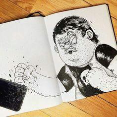 fight cartoon characters fun illustration ink illustrations funny drawings art drawings