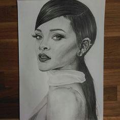 rihanna pencil drawing on instagram