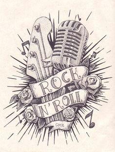 verwante prent rock and roll tattoo rock tattoo tatoo rock n roll