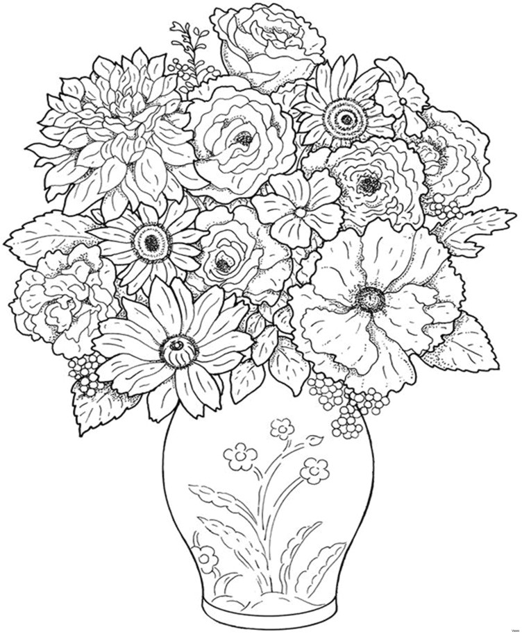 Rose Bouquet Drawing A Bouquet Of Flowers New Vases Flower Vase Coloring Page Pages