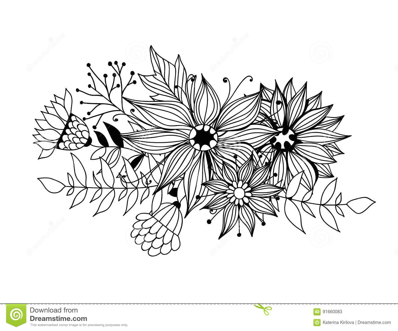 doodle bouquet od flowers and leaves