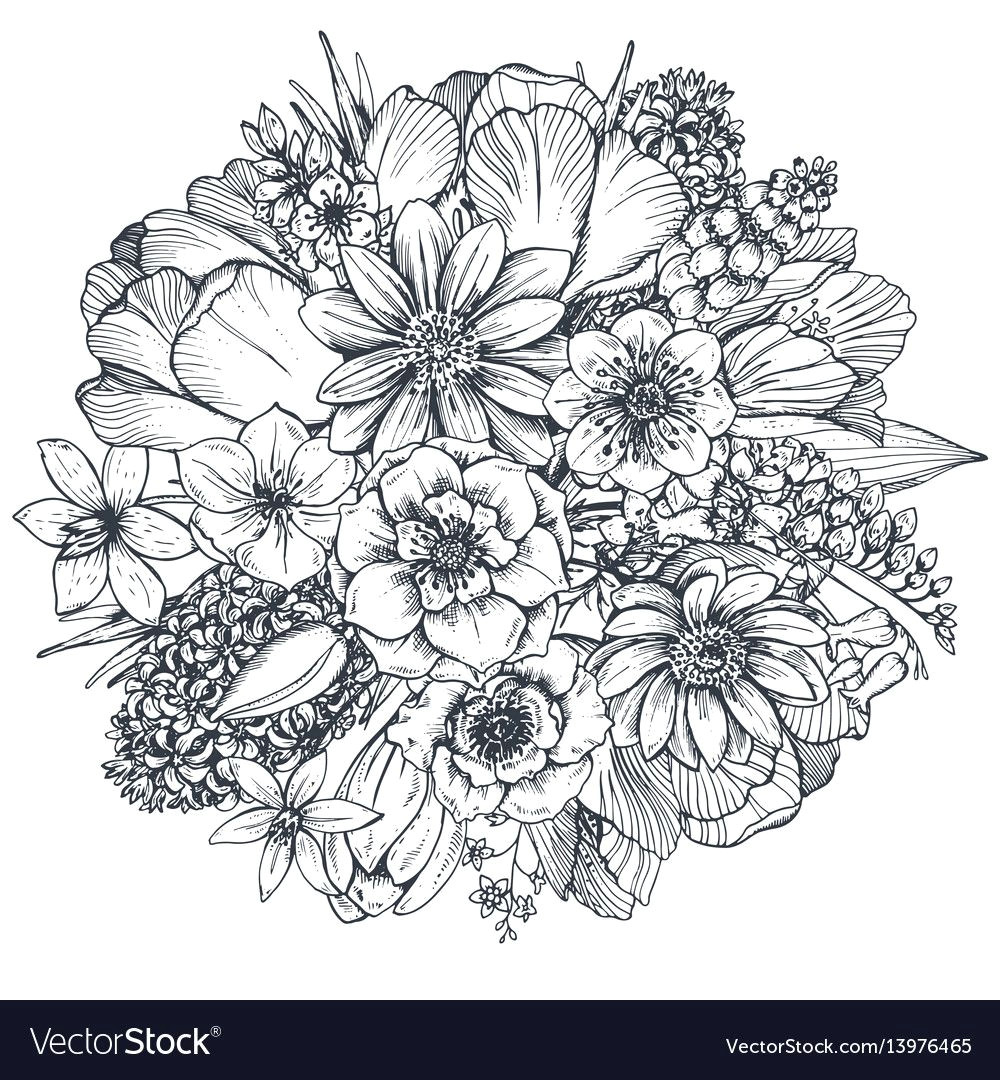 floral illustrations line art spring flowers how to draw hands coloring pages