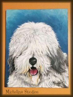 ad 16 x20 painting old english sheepdog original art on canvas http