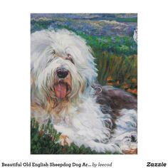 beautiful old english sheepdog dog art painting postcard