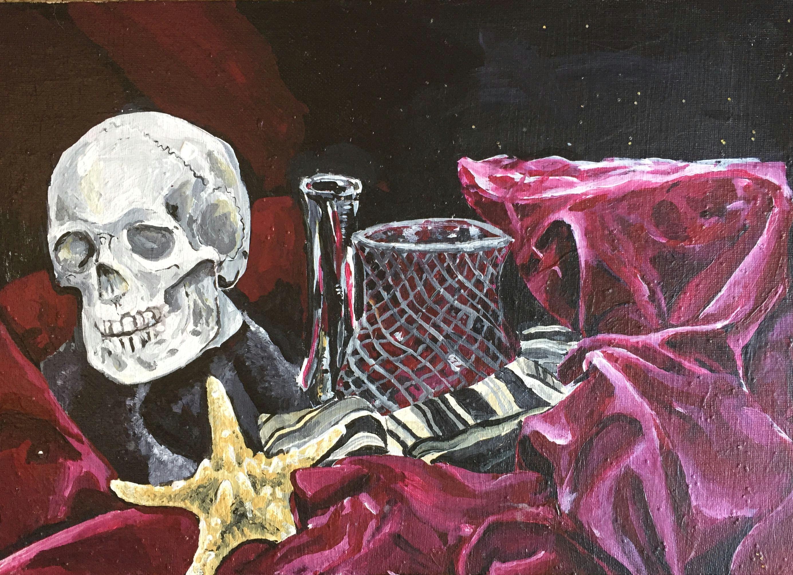 still life art artwork artist drawing painting skull stilllife