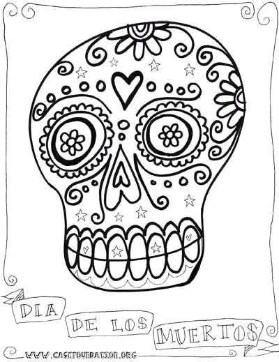 dia de los muertos sugar skull coloring pages for kids by karen me shell via flickr
