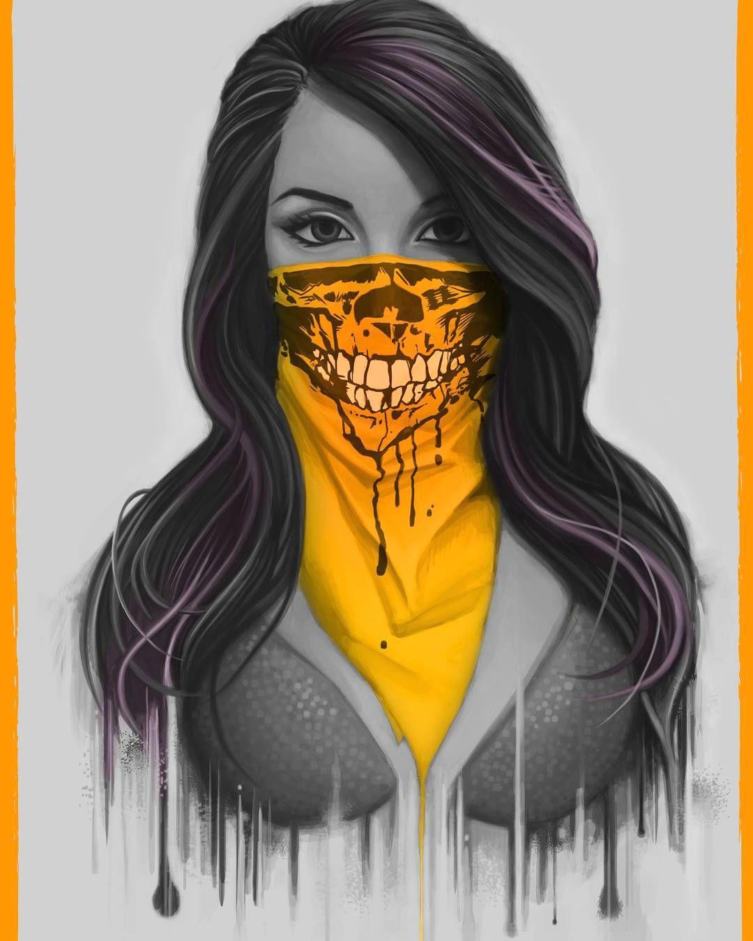 skull girlface artwork bandit mask digitalpainting art potraitart painting digital ink photoshop wacom cintiq art grey orange skeleton