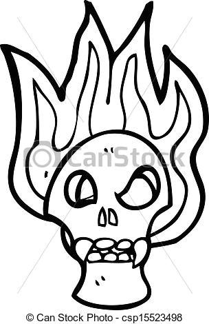 flaming skull cartoon csp15523498