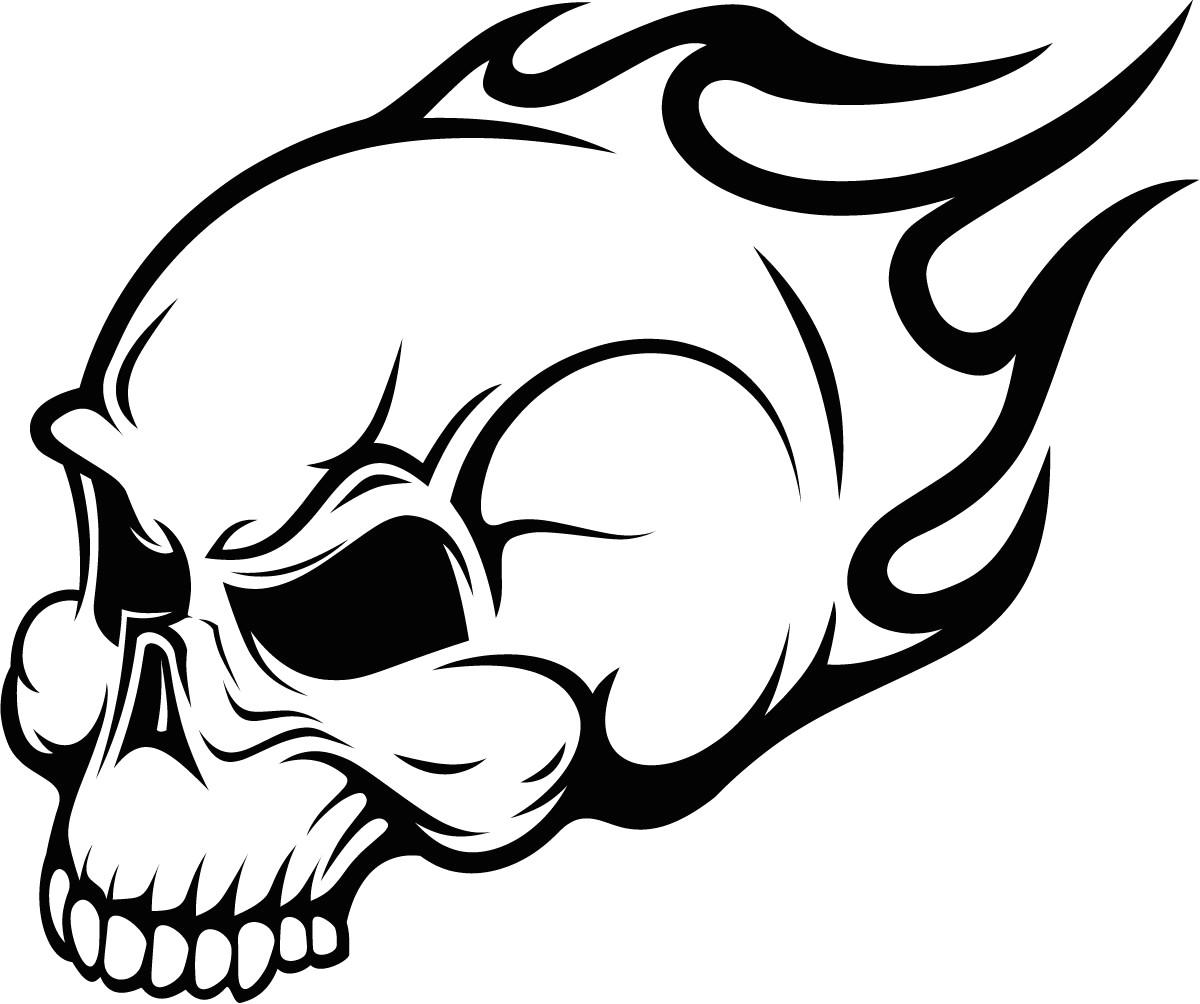 flaming skull wall art sticker image vector clip art online