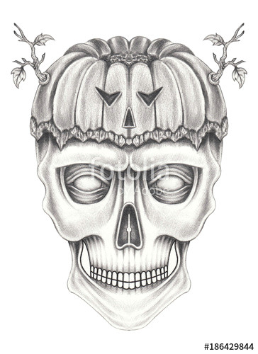art surreal pumpkin mix skull hand pencil drawing on paper