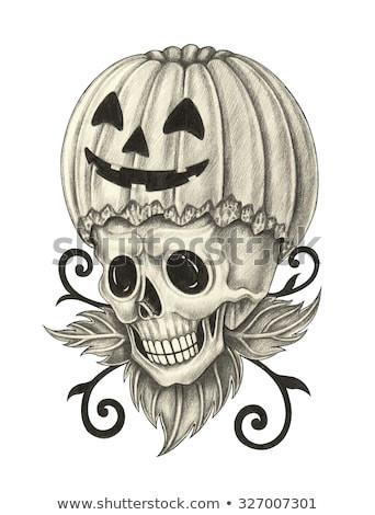 skull pumpkin tattoo halloween day hand pencil drawing on paper