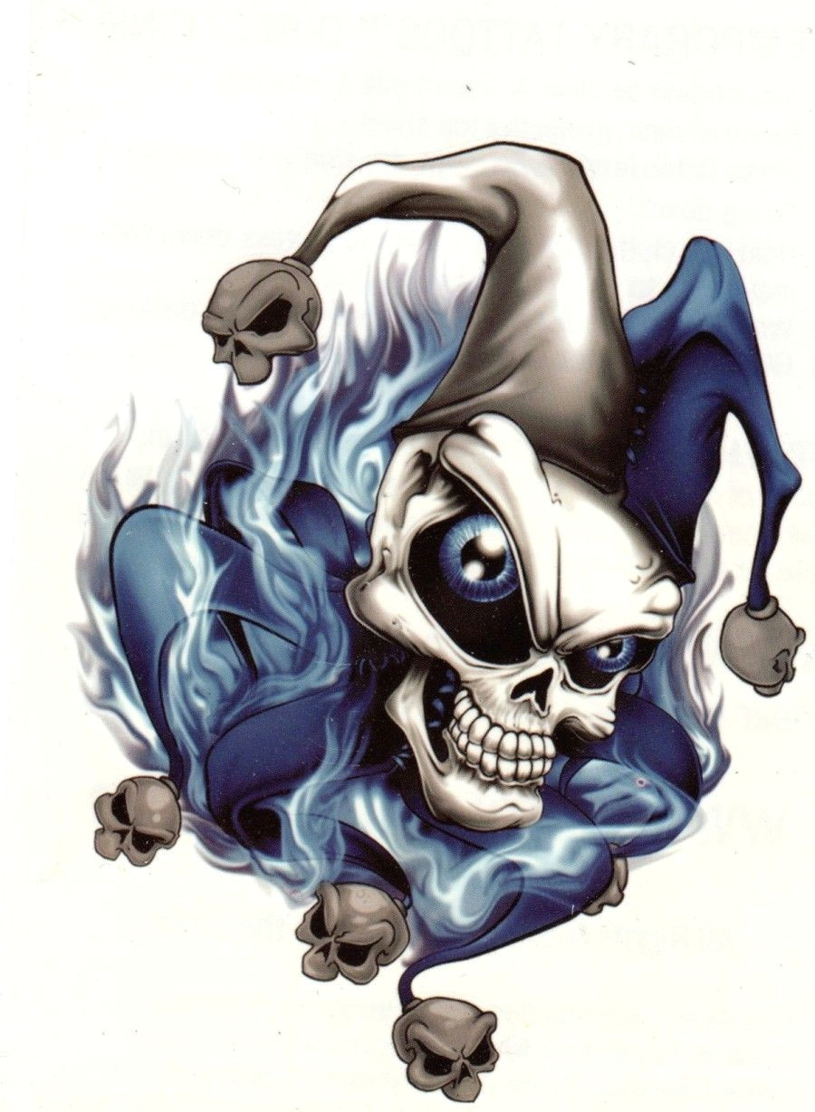 extra large temporary tattoo skull joker blue flames a 7 x 4 25 giant size