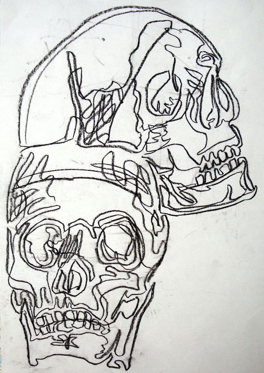basic drawing 1 continuous contour skulls