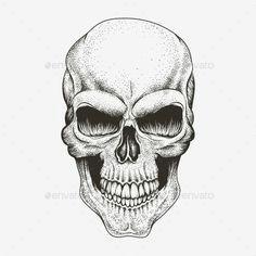 scary skull of human tattoos vectors