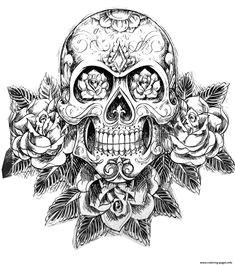 print sugar skull tatoo hard adult difficult coloring pages free coloring skull coloring pages