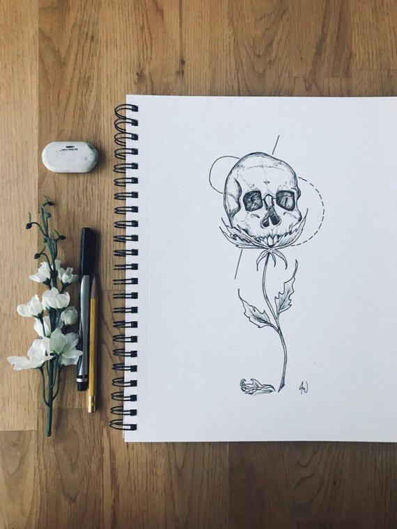 skull drawing skull rose physical print goth decor original drawing human skull skull illustra