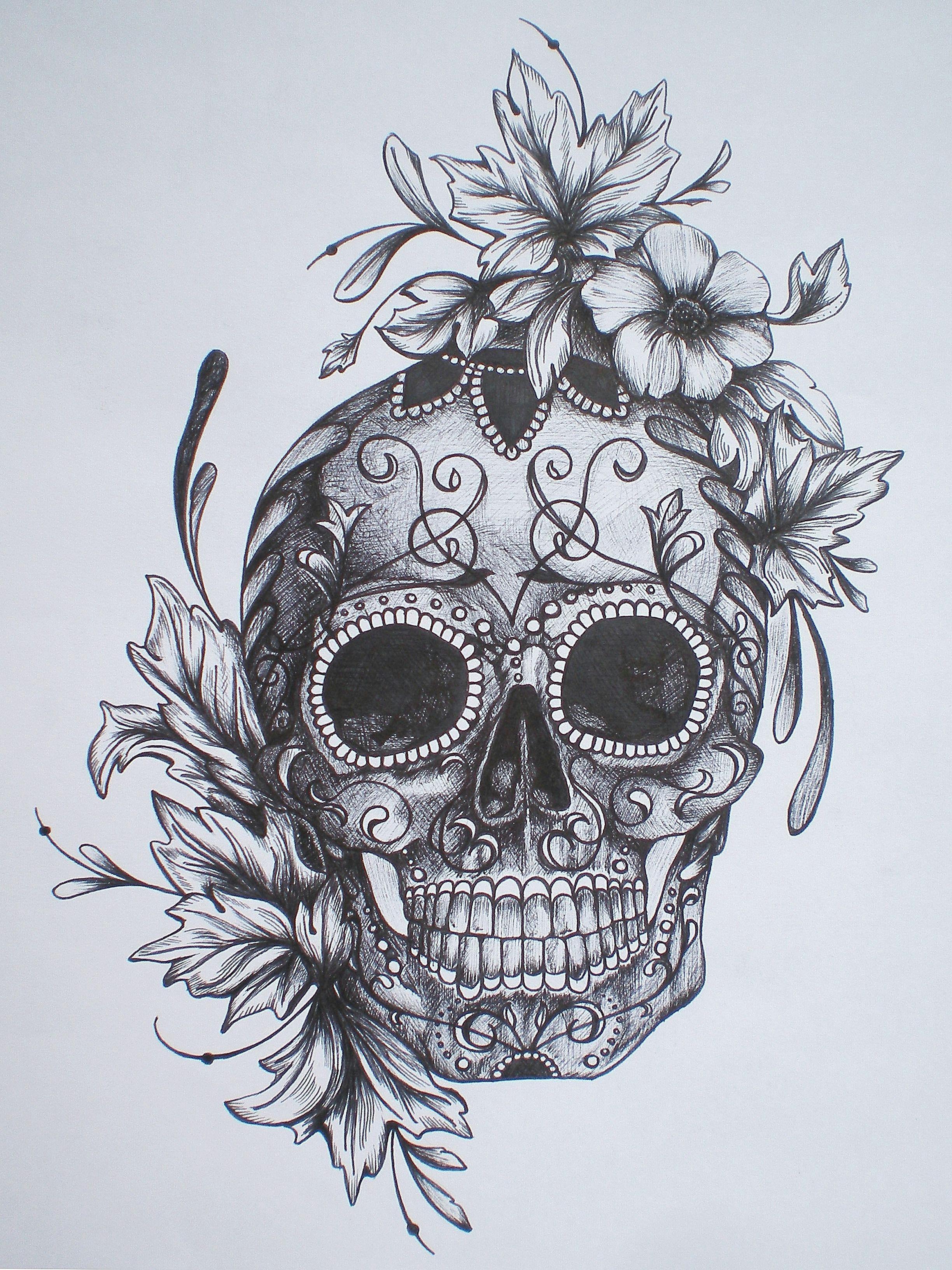 beautiful tattoo sketch sugar skull flowers lines