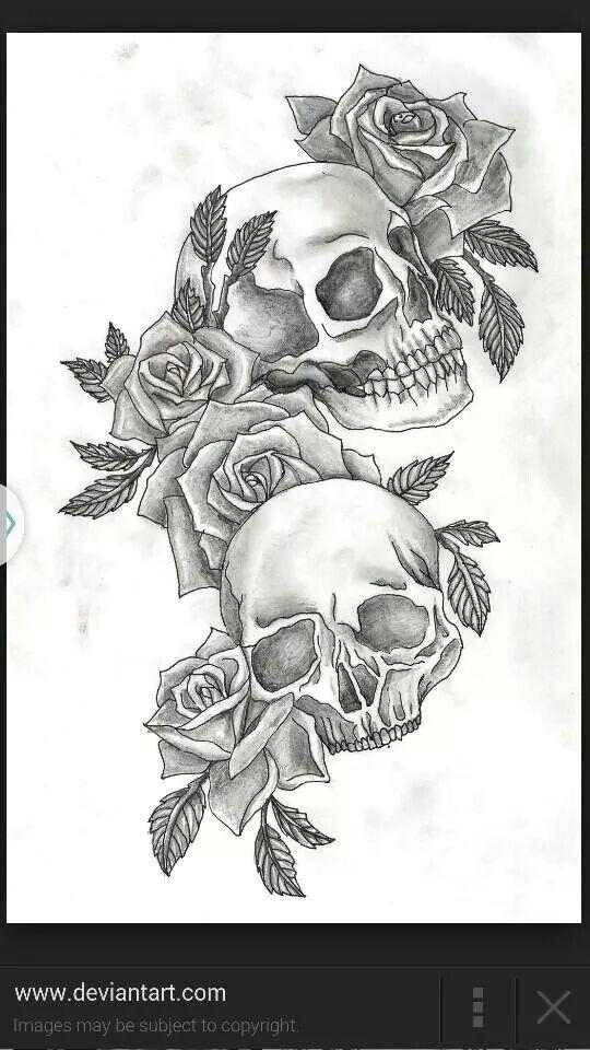 skulls roses tattoo