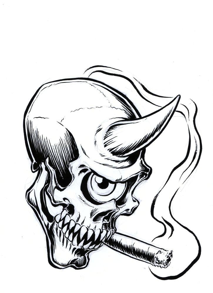 image of smoking simon skull sketch by coop