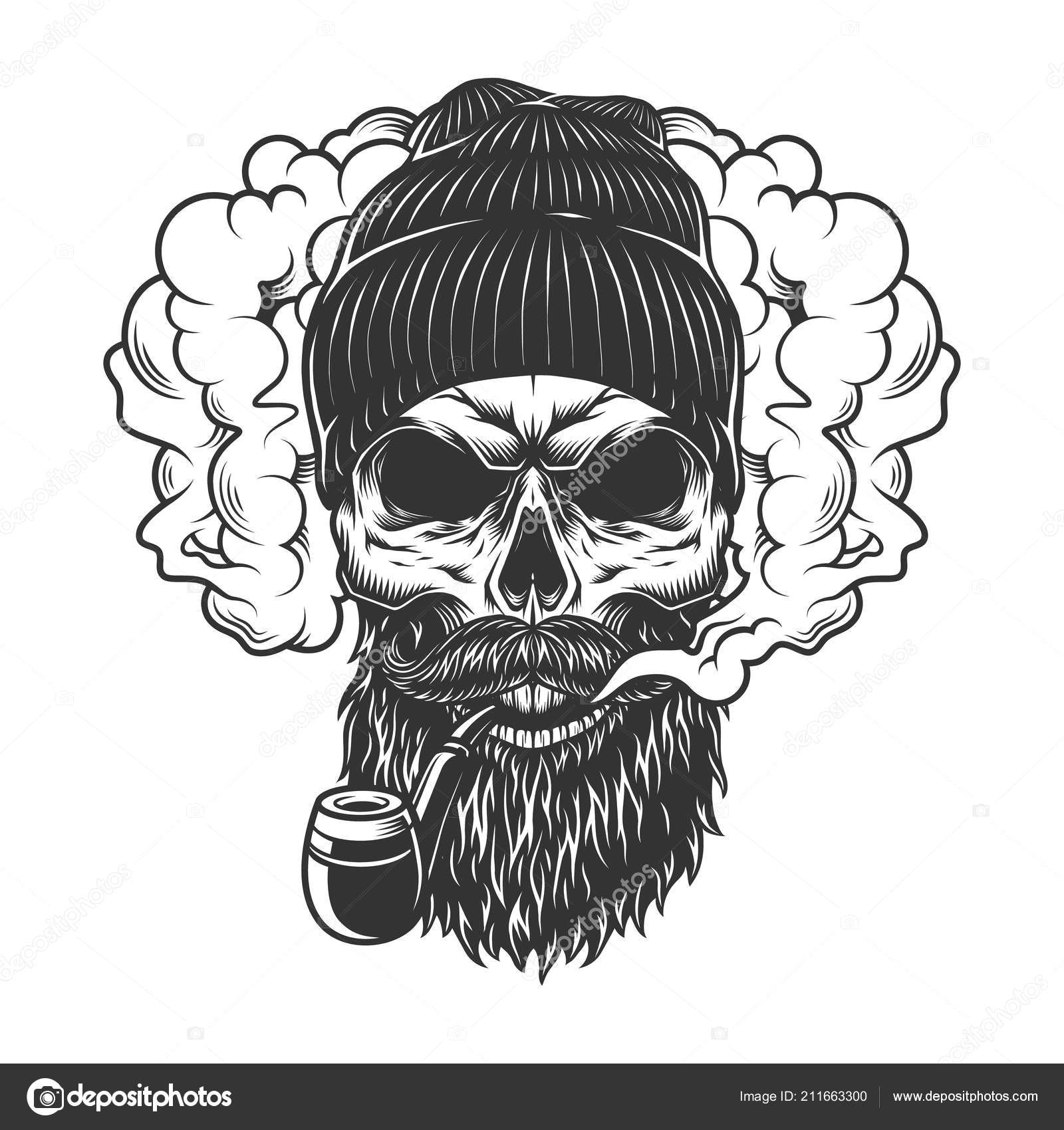 skull in smoke cloud and beanie hat vector illustration vektor od imogi