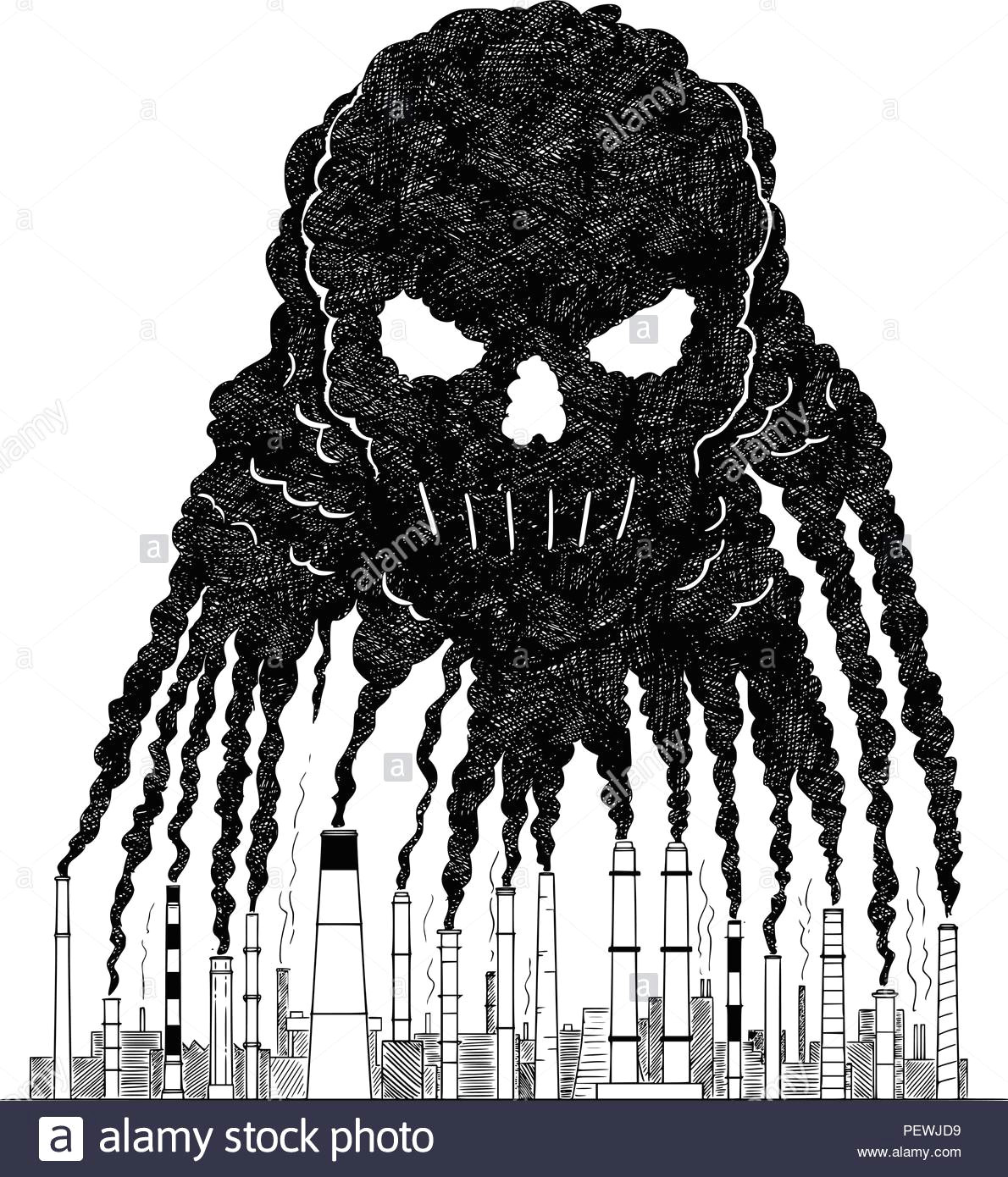 vector artistic drawing illustration of smoke from smokestacks creating human skull concept of toxic air pollution