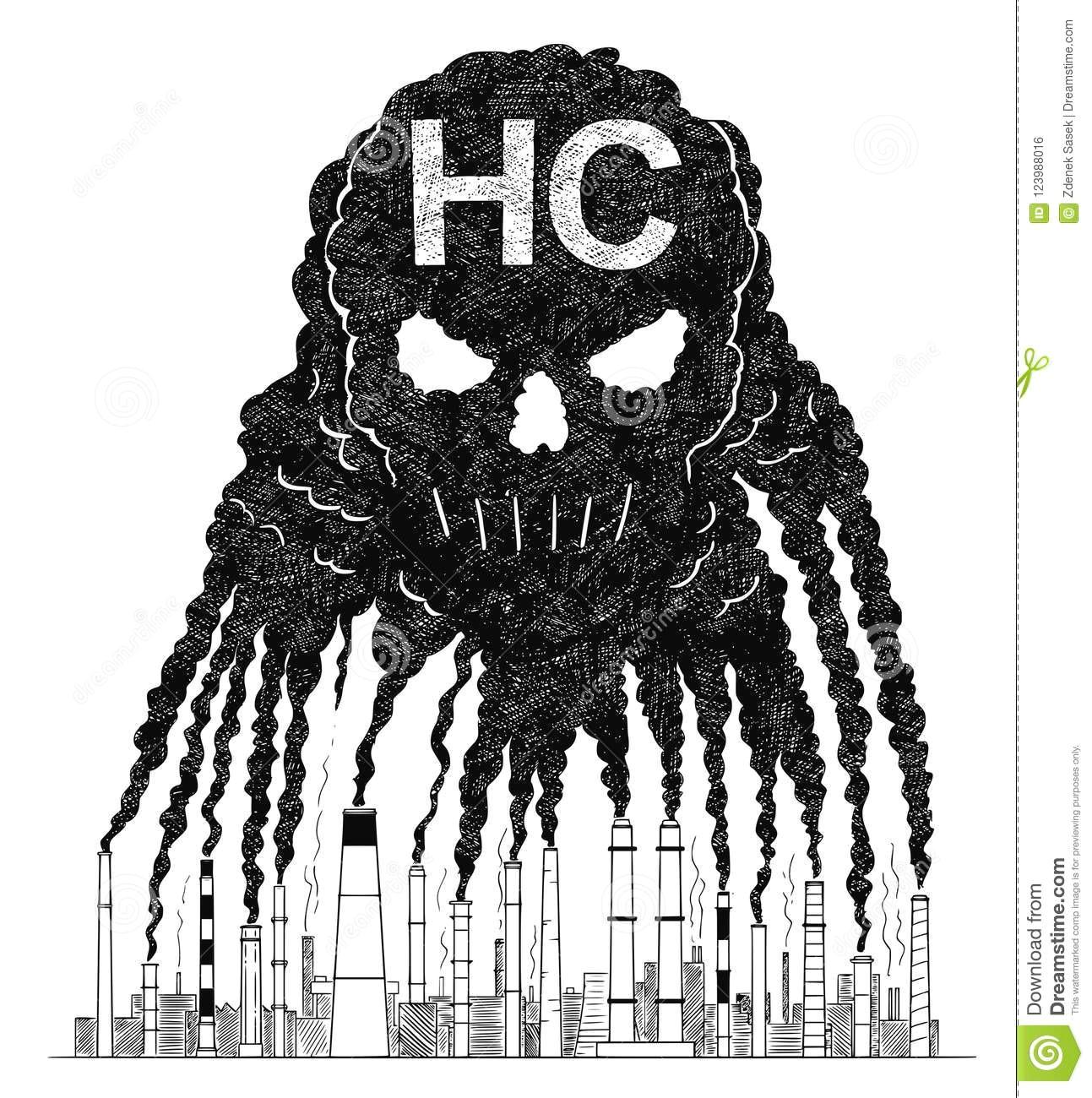 vector artistic drawing illustration of smoke from smokestacks creating human skull concept of hc air