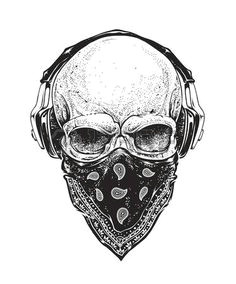 dotwork styled skull with headphones and bandana vector art skull headphones headphones tattoo