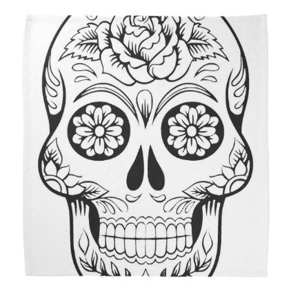 skull drawing with black ink in white background bandana black and white gifts unique special b w style