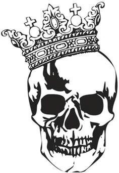 skull with crown tattoo stencil designs