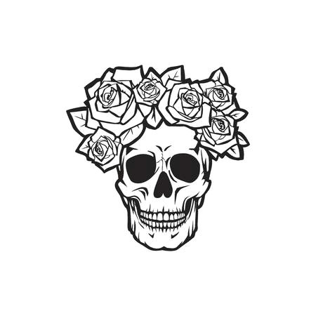 human skull with roses black and white vector illustration