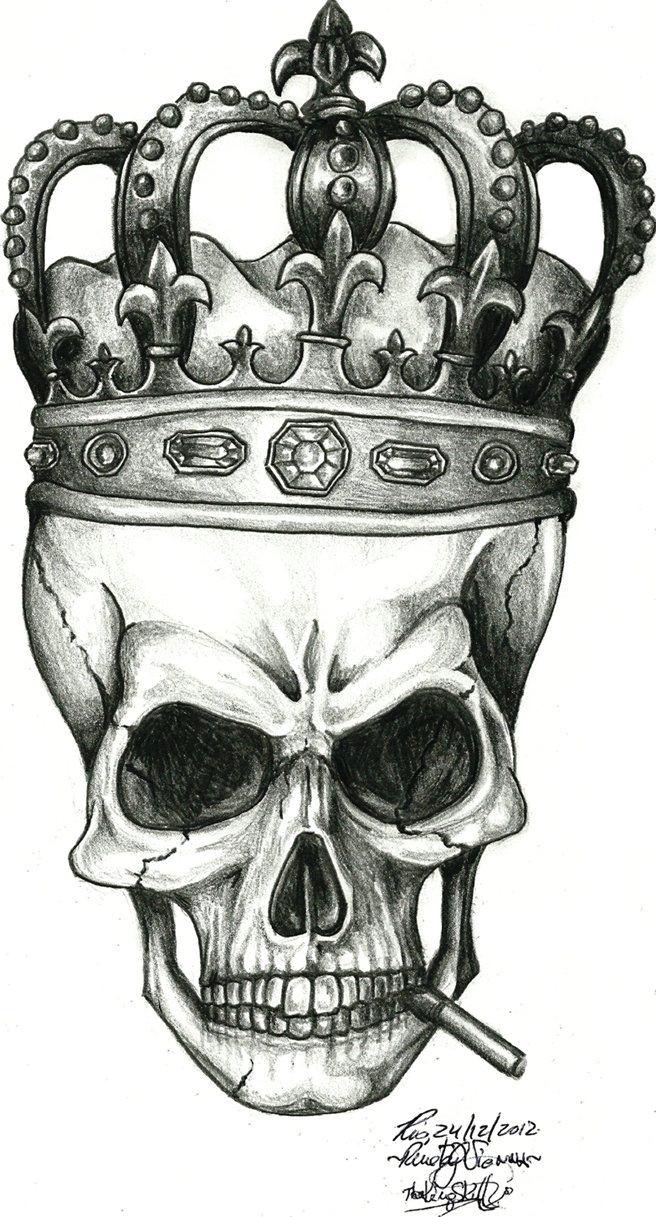 Skull Drawing with Crown the King Skull by Renatavianna Tattoo Ideas Skull Skull Tattoos