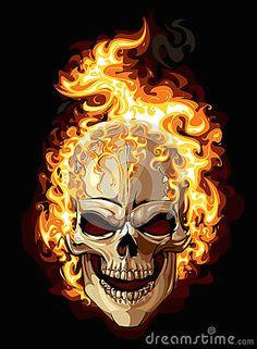 burning skull stock vector illustration of graphic tattoo 29294320