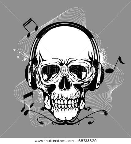 Skull Drawing with Headphones Skeleton with Headphones Skull with Headphone Stock Vector