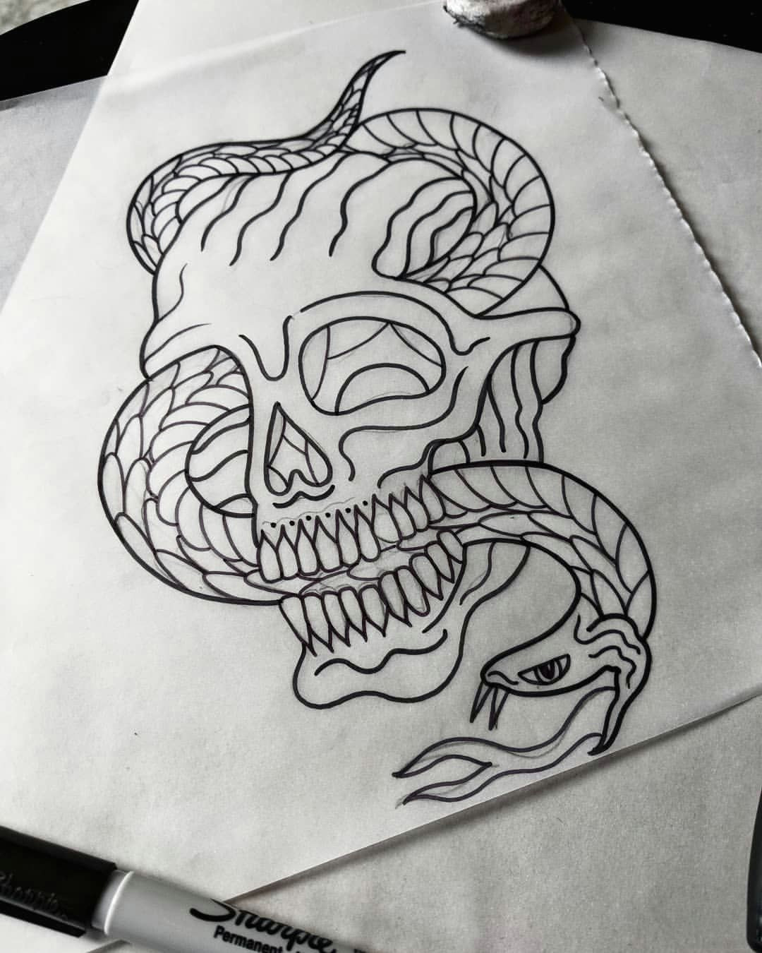 drew this up yesterday it s available space nxt week thanks skull snake tattoo tattoodesign blacktattooart traditionaltattoo