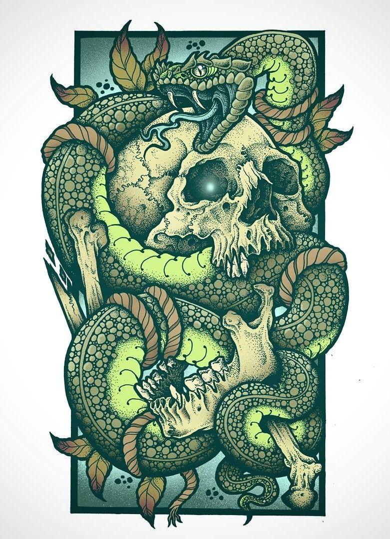 Skull Drawing with Snake Skull Snake Tattoo Sleeve Ideas for Art Pinterest Tattoos