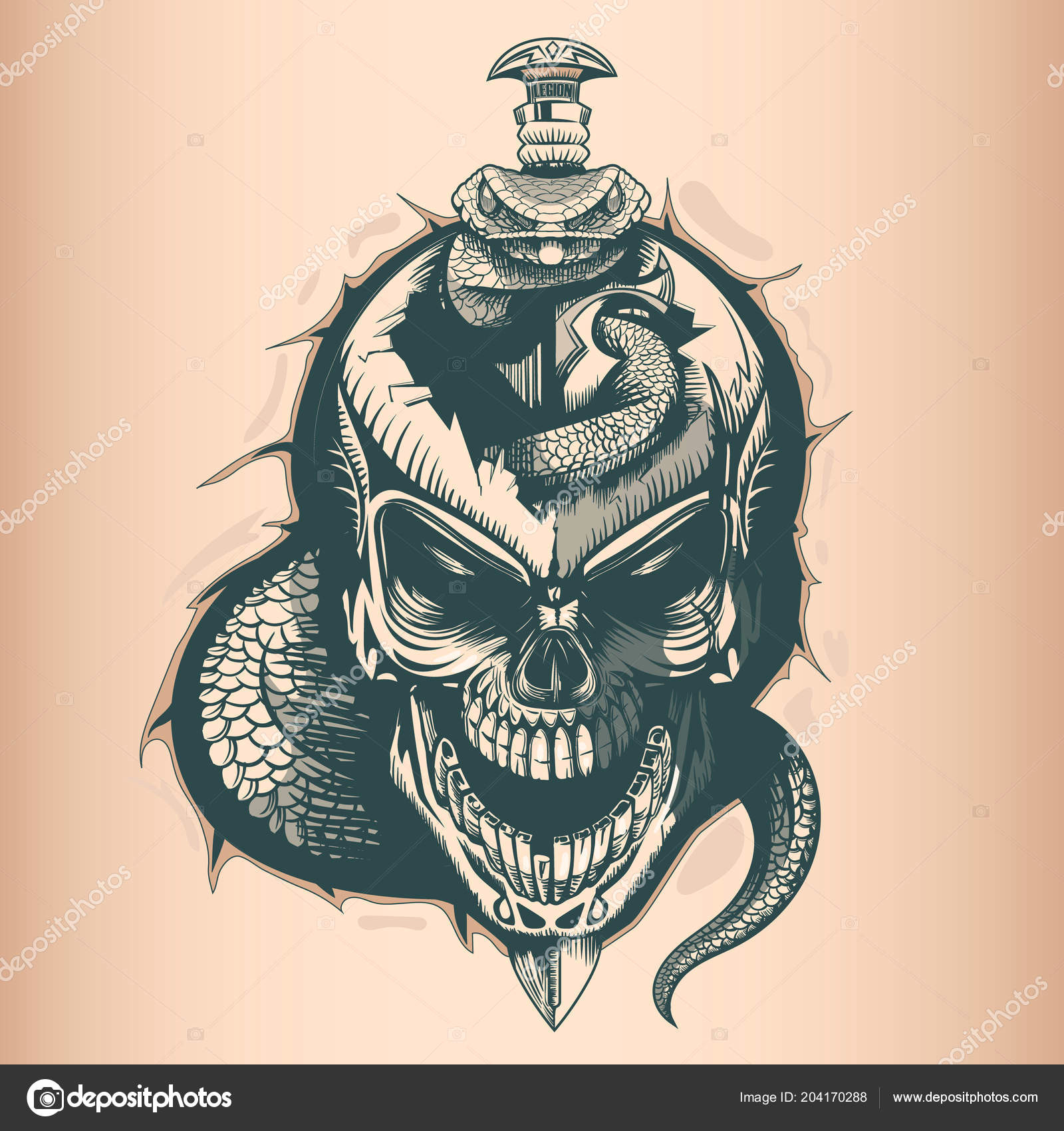 vintage skull with sword and snake monochrome hand drawn tatoo style vektor od balanslava