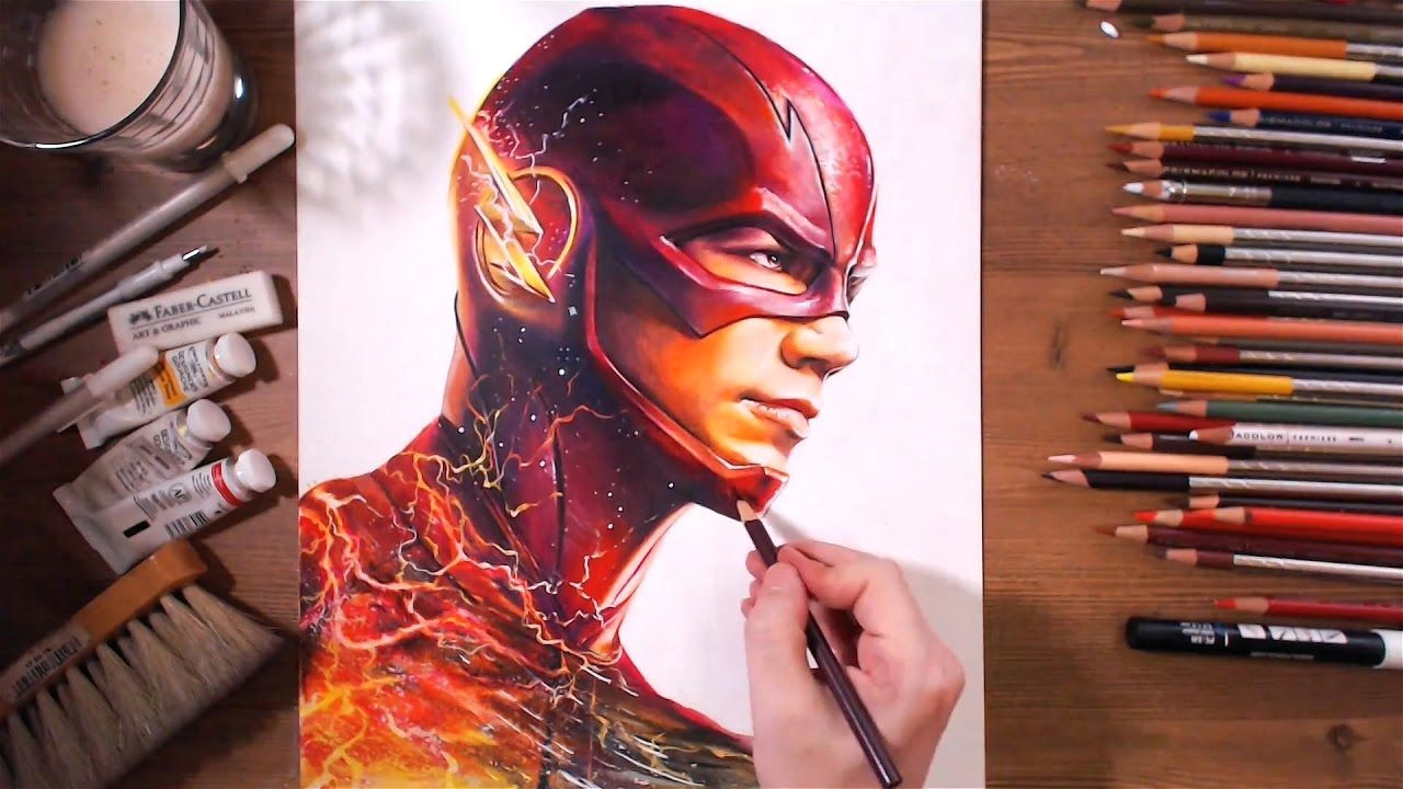 the flash barry allen grant gustin speed drawing drawholic