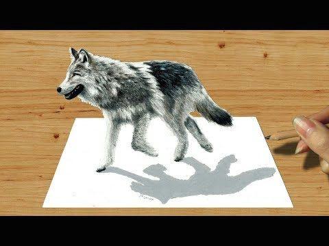 3d pencil drawing walking wolf speed draw jasmina susak youtube