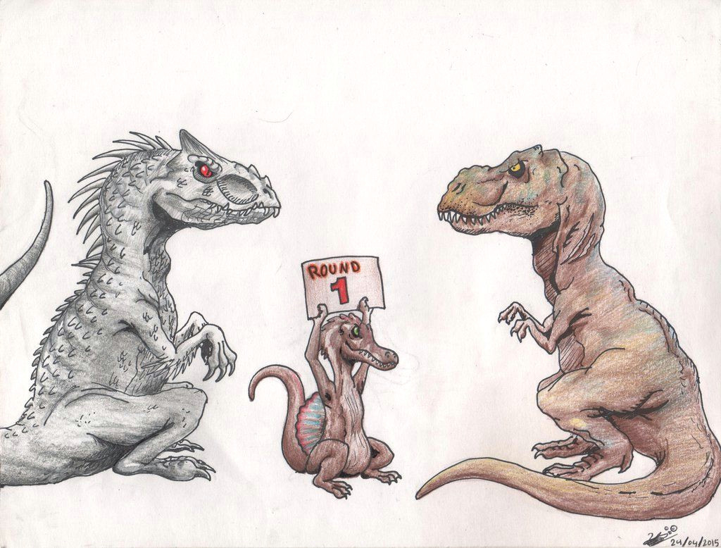 indominus rex vs tyrannosaurus rex by theyahid on deviantart