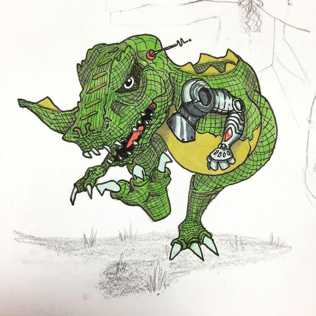 robo rex coming to get you doodle draw drawing sketch sketchbook illustration mech robot trex dinosaur tyrannosaurusrex