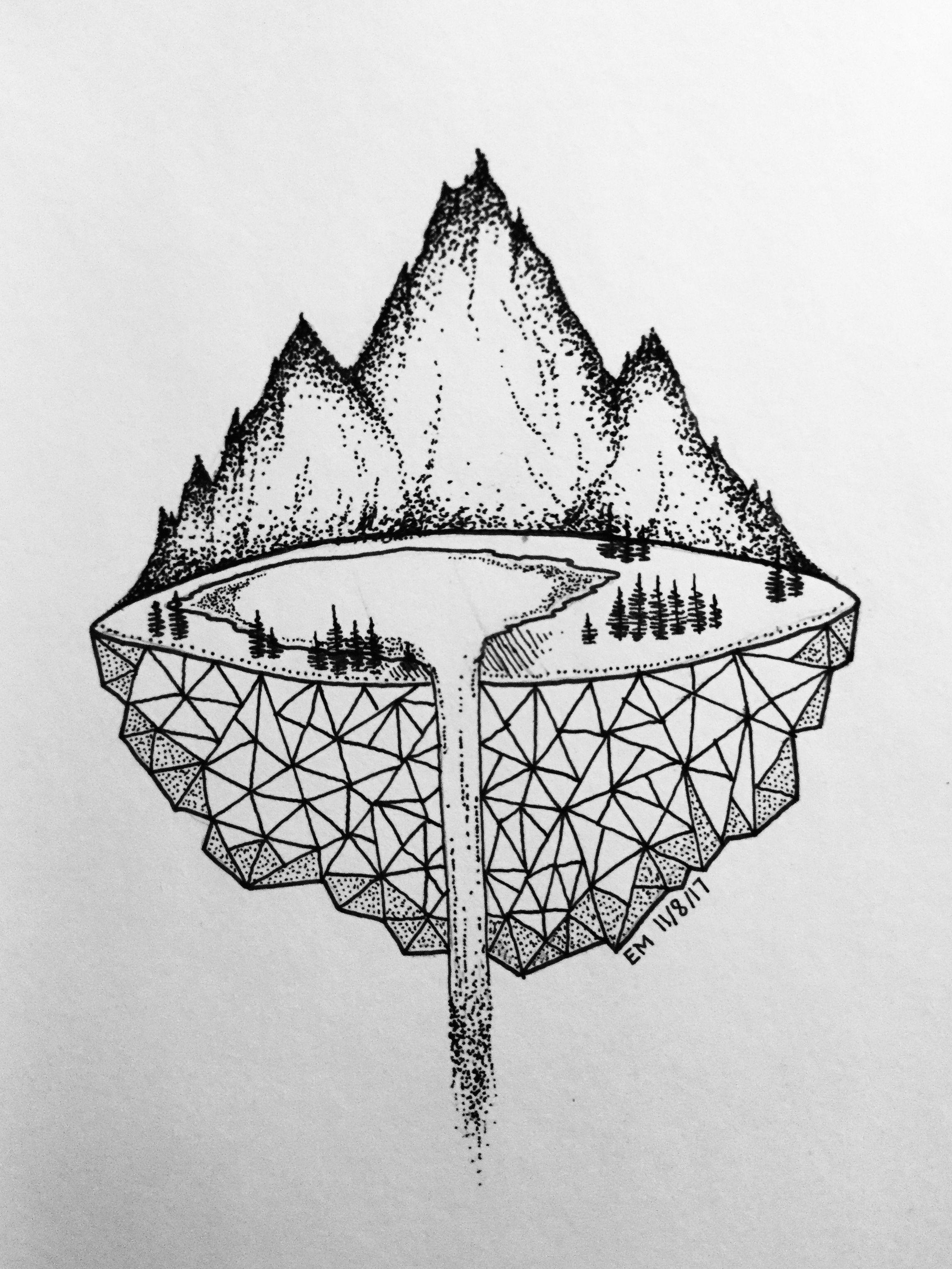 micron mountains tumblr drawings cute drawings dotted drawings pen art art sketchbook
