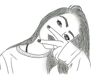 outline drawing and tumblr image a the crazy girl