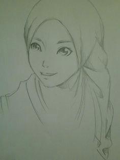 hijab style pencil drawing