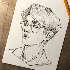 tumblr art kpop fanart anime baekhyun amazing art pencil fan art sketches portrait