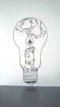affiche illustration noir et blanc ampoule tenir une lampe allumee cute drawings tumblrcool